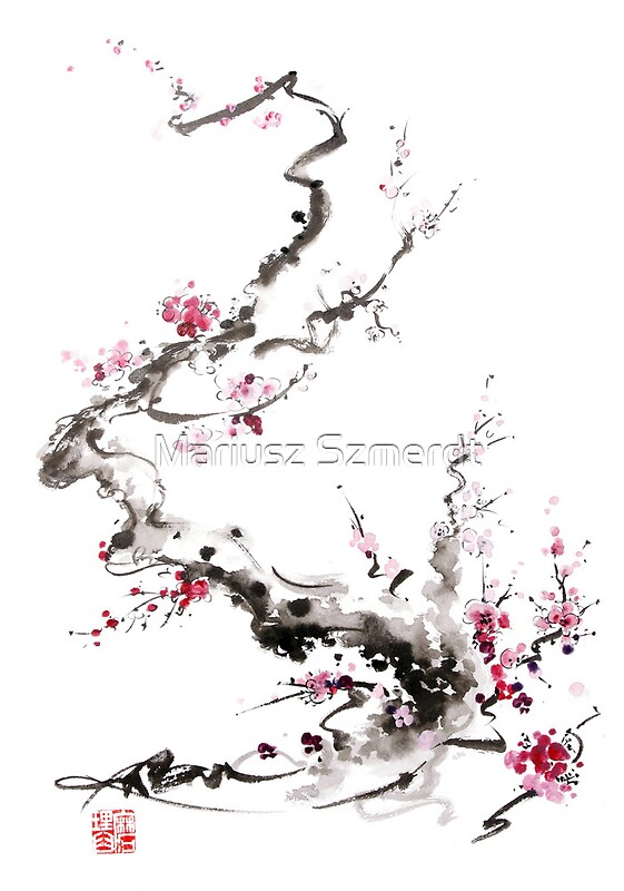 Japanese watercolor flowers