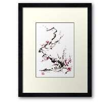 Sakura cherry blossom pink and red flowers tree watercolor original ink painting Framed Print