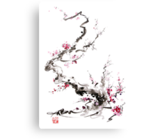 Sakura cherry blossom pink and red flowers tree watercolor original ink painting Canvas Print