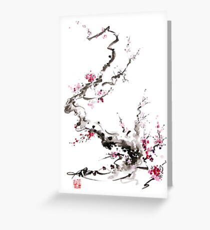 Sakura cherry blossom pink and red flowers tree watercolor original ink painting Greeting Card