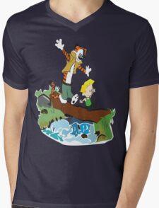 Calvin and Hobbes Street Fighter Mens V-Neck T-Shirt
