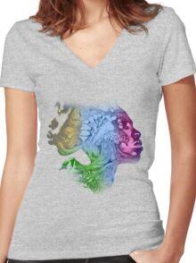 Creative art T-Shirt Women's Fitted V-Neck T-Shirt