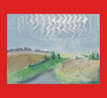 Mackerel sky on September morning in the countryside in England Kids Clothes