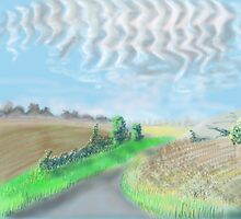 Mackerel sky on September morning in the countryside in England by Helen Imogen Field