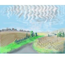 Mackerel sky on September morning in the countryside in England Photographic Print