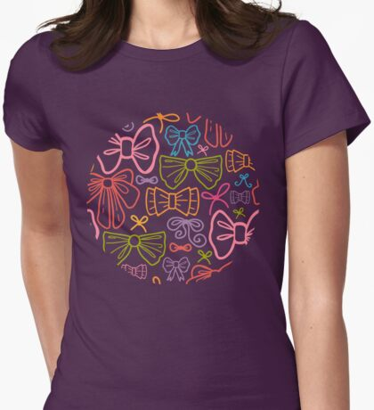 Colorful bows pattern Womens Fitted T-Shirt