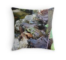 Pile of Green Frogs Throw Pillow