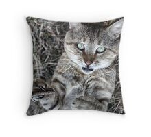 Badass Cat Throw Pillow