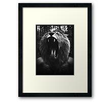 Lion Man - Black & White - Collage Framed Print
