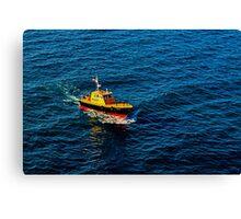 Little boat, big sea Canvas Print