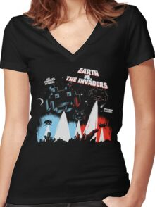 Earth vs. The Invaders Women's Fitted V-Neck T-Shirt