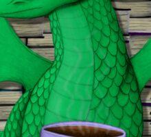 Book Hoarding Green Dragon with Tea Sticker