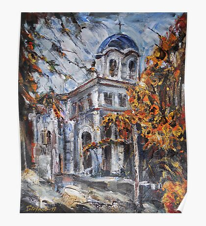 Church Yard - Autumn Afternoon Poster