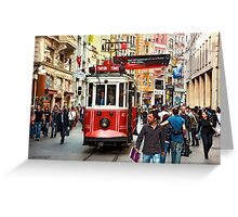 The famous red tram of Istiklal Greeting Card
