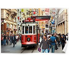 The famous red tram of Istiklal Poster