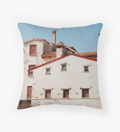 White Buildings in Caorle Throw Pillow
