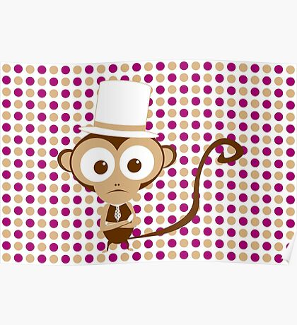 monkey with hat Poster