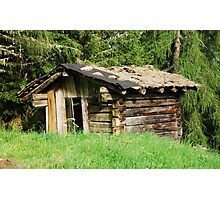Derelict Wooden Mountain Shack Photographic Print