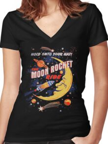 Rocket Moon Ride (vintage) Women's Fitted V-Neck T-Shirt