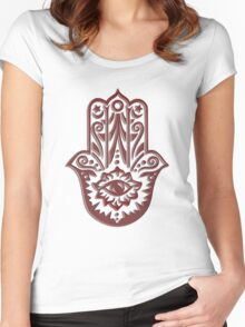 Hamsa - Hand of Fatima, protection symbol Women's Fitted Scoop T-Shirt