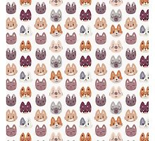 Kitty Cat Faces Pattern by Claire Stamper