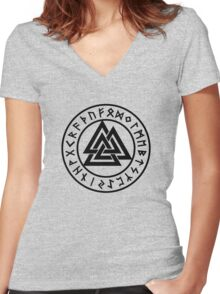 Valknut, Wotans Knot, runes Women's Fitted V-Neck T-Shirt