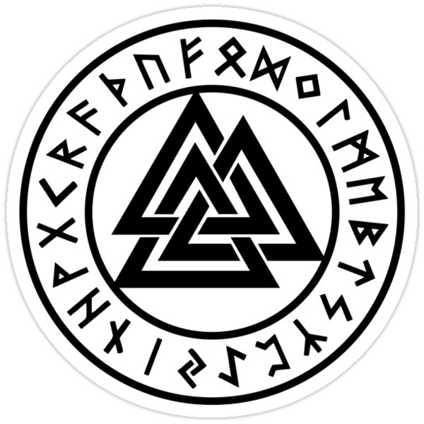 Meaning of the runes around the Valknut? ( ih0.redbubble.net ) Someone Writing