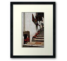 Geraniums on Stepped Street 1 Framed Print
