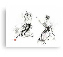 Aikido enso circle martial arts sumi-e original ink painting artwork Metal Print