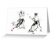 Aikido enso circle martial arts sumi-e original ink painting artwork Greeting Card