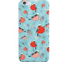 winter pattern of bullfinches iPhone Case/Skin