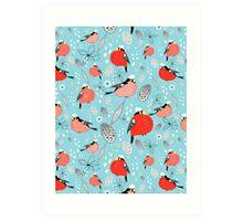 winter pattern of bullfinches Art Print