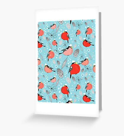 winter pattern of bullfinches Greeting Card
