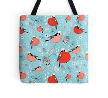 winter pattern of bullfinches Tote Bag