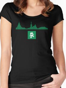 Monstercat Visualizer - Glitch-Hop Green Women's Fitted Scoop T-Shirt