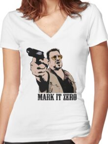The Big Lebowski Mark It Zero Color Tshirt Women's Fitted V-Neck T-Shirt