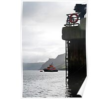 Portree lifeboat at anchor in the harbour Poster