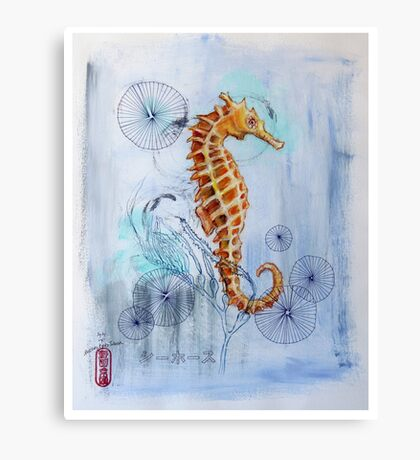 Seahorse with Sewing Thread Canvas Print