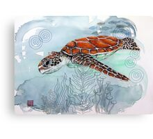 Sea Turtle with Sewing Thread Canvas Print