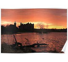 Sunset over Linlithgow Palace and Loch Poster