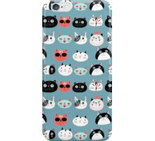 pattern amusing portraits of cats iPhone Case/Skin