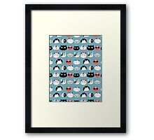 pattern amusing portraits of cats Framed Print