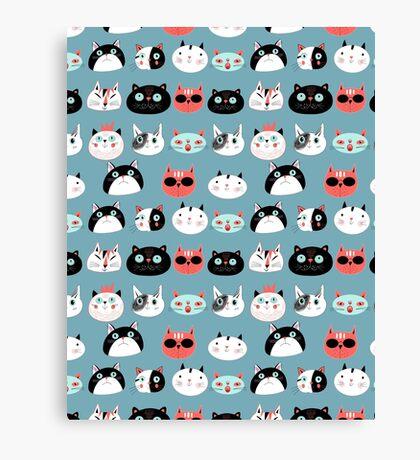 pattern amusing portraits of cats Canvas Print