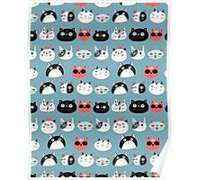 pattern amusing portraits of cats Poster