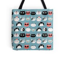 pattern amusing portraits of cats Tote Bag