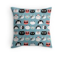 pattern amusing portraits of cats Throw Pillow