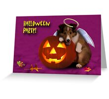 Halloween Party Angel Sheltie Puppy Greeting Card