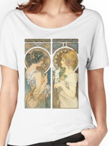 """""""Primrose and Feather"""", by Alphonse Mucha (1899). Women's Relaxed Fit T-Shirt"""
