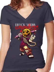 Dewd O Lantern Women's Fitted V-Neck T-Shirt