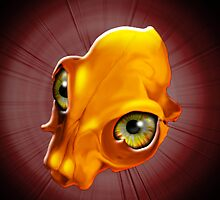 Spooky Yellow Skull with evil Look by BluedarkArt
